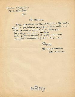René MAGRITTE Lettre autographe signée sur le groupe Surréaliste Belge. 1945