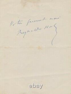 Reynaldo HAHN lettre autographe signée Les Feuilles blessées Moreas