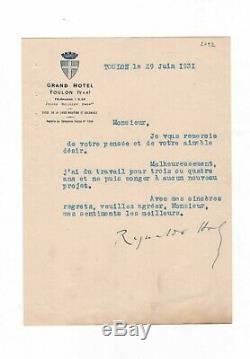 Reynaldo Hahn / Lettre Signée (1931) / Toulon / (marcel Proust)