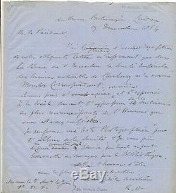 Richard OWEN paléontologue lettre autographe signée LE JOLIS botaniste Cherbourg