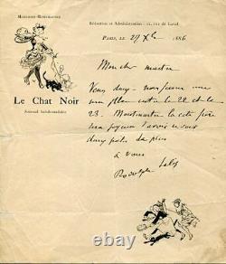 Rodolphe SALIS RARE LETTRE AUTOGRAPHE SIGNEE en 1886 entête CHAT NOIR à BRUANT