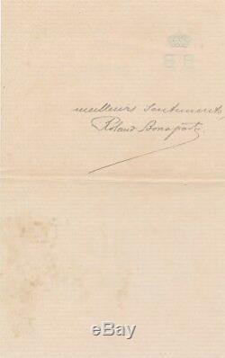 Roland Napoléon BONAPARTE botanique Lettre autographe signée oreille Mozart