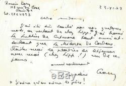 Romain GARY Lettre autographe signée à Madame Le Porrier. 1977