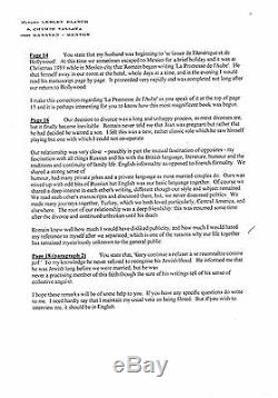 Romain Gary lettres autographes signées de Lesley Blanch à propos de Gary