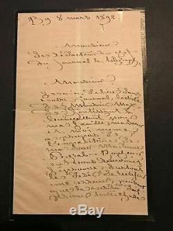Rosa Bonheur peintre Lettre autographe signée au journal Le télégraphe 1892