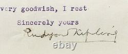 Rudyard KIPLING Lettre signée sur François Mauriac signed letter 1933