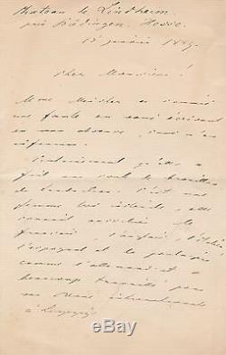 SACHER-MASOCH Lettre autographe signée Père du MASOCHISME