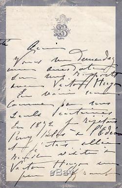 SARAH BERNHARDT belle lettre autographe signée à propos de VICTOR HUGO