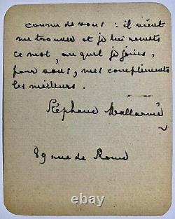 STÉPHANE MALLARMÉ, Lettre manuscrite autotographe signée à un inconnu, 2 pp
