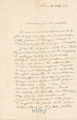 SULLY PRUDHOMME lettre autographe signée à Léon BARRACAND l'Enragé