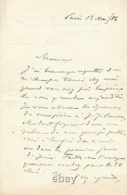 SULLY PRUDHOMME lettre autographe signée hommage à Rousseau
