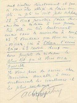 Sacha GUITRY lettre signée rideau de scène décorateur Amable Mathurins