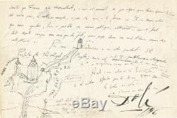 Salvador DALI Lettre autographe signée ornée d'un dessin. Franco et la Catalogne