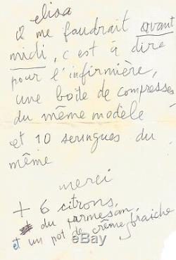 Serge GAINSBOURG Lettre autographe signée S à Elisa. 1985