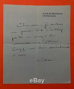 Sidonie-Gabrielle COLETTE Lettre autographe signée