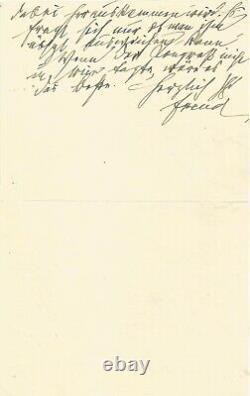 Sigmund FREUD Lettre autographe signée. Congrès de l'API en 1931 Psychanalyse