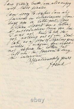 Sigmund FREUD Lettre autographe signée à son cousin Edward Bernays