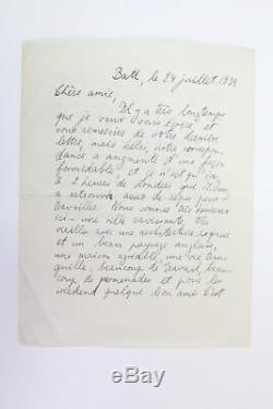 Stefan ZWEIG Lettre autographe pianiste Alfred Cortot MANUSCRIT AUTOGRAPHE 1939