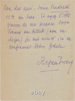 Stefan ZWEIG Lettre autographe signée à Louis BRUN