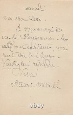 Stuart MERRILL Lettre autographe signée à Karl BOÈS SYMBOLISME