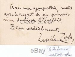 Superbe carte de visite lettre autographe signée Emile Zola dédicace LITTERATURE