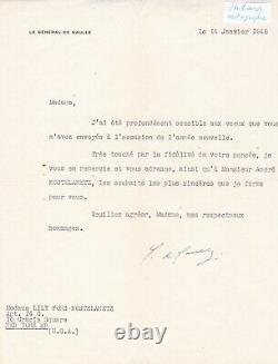 Superbe lettre tapuscrite signée Général Charles de Gaulle dédicace signed 1948