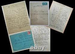 Surrealisme Rene Char 24 Lettres Signees + Enveloppes A Luc Decaunes 1936 A 1981