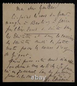 THOME Francis LETTRE AUTOGRAPHE SIGNÉE À Emile GAILLARD au sujet de BERLIOZ