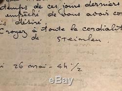 T. A. Steinlen peintre graveur lettre autographe signée à Roméo Dumoulin
