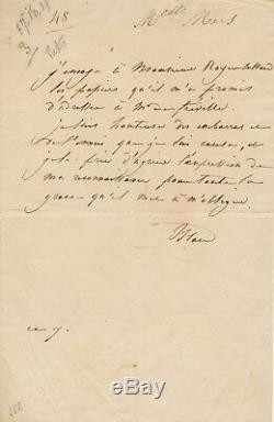 Théâtre Mademoiselle Mars Royer-Collard Fréville lettre autographe signée