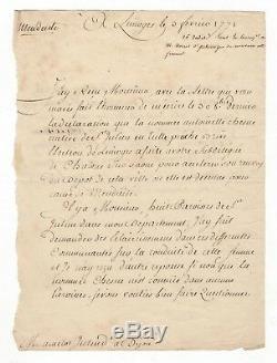 Turgot / Lettre Signée (1771) / Limoges / Mendicité / Surintendant De Dijon