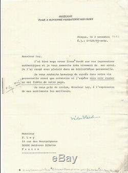Vaclav HAVEL lettre signée en-tête ouvrage Président Masaryk autographe