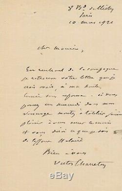 Victor CHARRETON peintre lettre autographe signée un rendez vous à son atelier