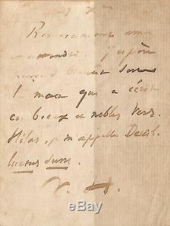 Victor HUGO Lettre autographe signée. La mort de son fils François-Victor