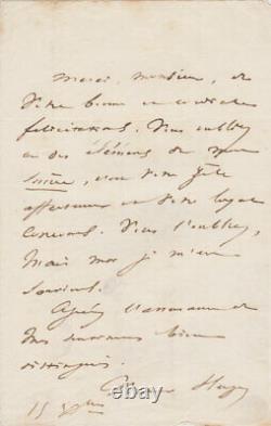 Victor HUGO Lettre autographe signée à Bernard Durmont