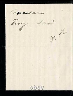 Victor HUGO Lettre autographe signée à George SAND. La mort d'Adèle FOUCHER