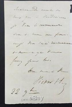 Victor HUGO Rare lettre autographe signée à son éditeur Renduel 2 pages