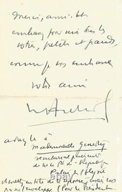 Vincent AURIOL Lettre autographe signée avec dessin original