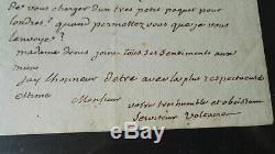 Voltaire Lettre Autographe Signee 1771 Rarissime