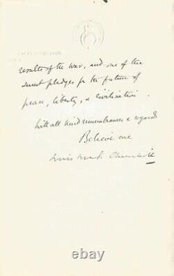 Winston CHURCHILL Lettre autographe signée. La paix en Novembre 1918
