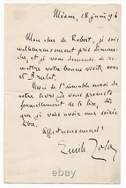 ZOLA Émile Lettre autographe signée, adressée à Louis de Robert, 18 juin 1896