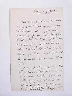 ZOLA (Emile) Lettre autographe signée d'Emile Zola à Lucien Descaves. 188