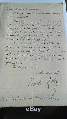 Zola Emile Lettre Autographe Signee Alexandre De Lavergne Belle Correspondance