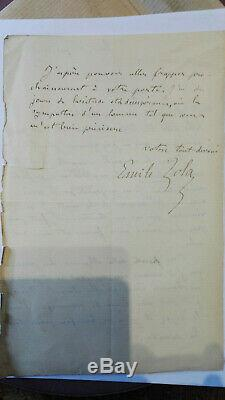 Zola Emile Lettre Autographe Signee Datee Tres Emouvante Rare