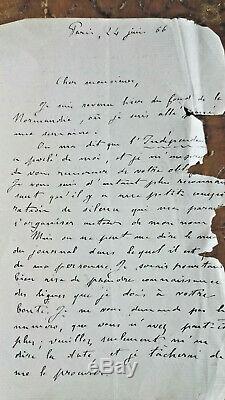 Zola Lettre Autographe Signee 1866 Alexandre De Lavergne Rare