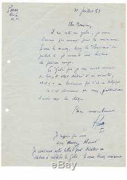(l. F. Céline) Albert Paraz /lettre Autographe Signée (1953) / Le Gala Des Vaches