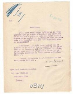 (marechal Pétain) / Pierre Laval / Lettre Signée (1936) / Maire D'aubervilliers
